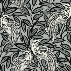 Tailfeather Peacock Designer Flock Wallpaper Bowler Black