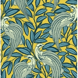 Tailfeather Peacock Designer Flock Wallpaper Honey Mustard