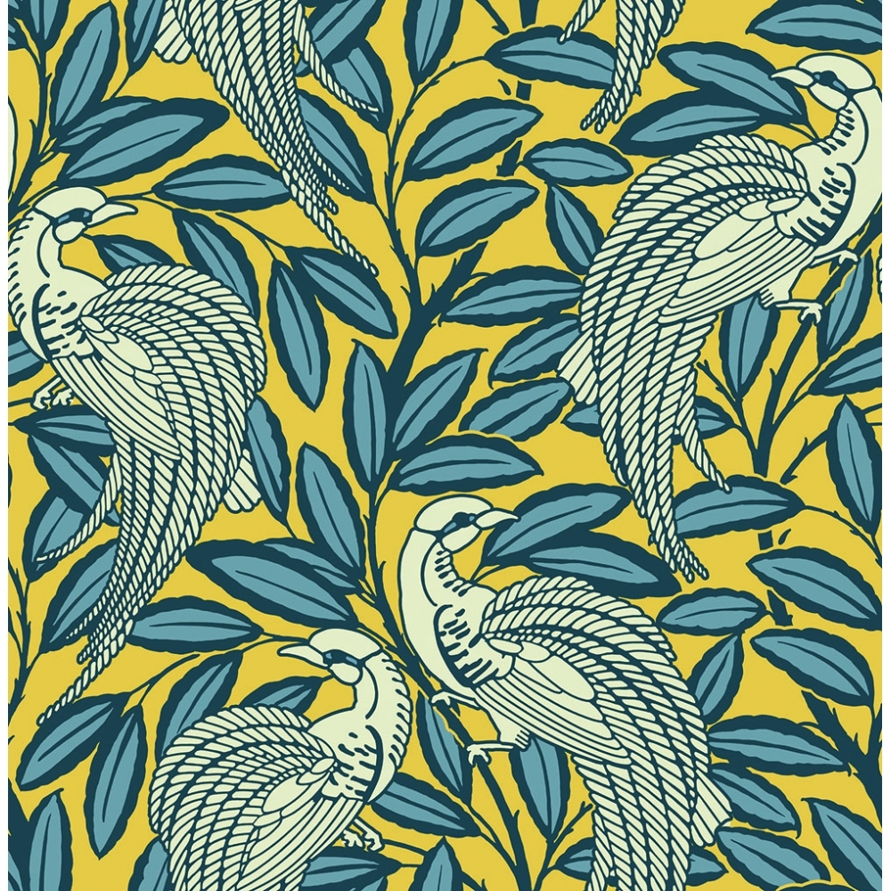 Trendy Wallpaper: Tailfeather Peacock Designer Flock Wallpaper Honey Mustard