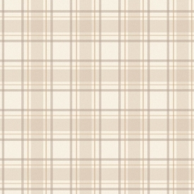 Tartan Wallpaper Neutral Beige Cream