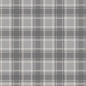 Tartan Wallpaper Soft Grey Charcoal