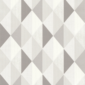 Tate Geometric Triangle Wallpaper Grey Silver
