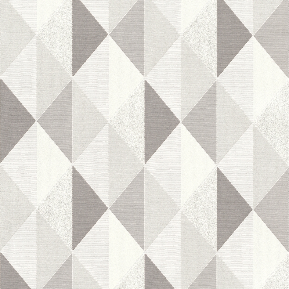 Tate Geometric Triangle Wallpaper Grey Silver