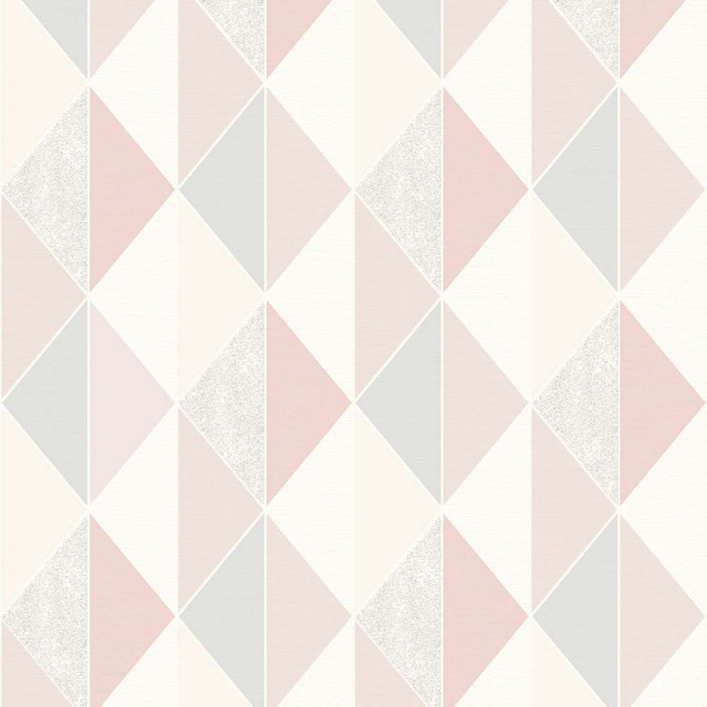Tate Geometric Triangle Wallpaper Pink Silver