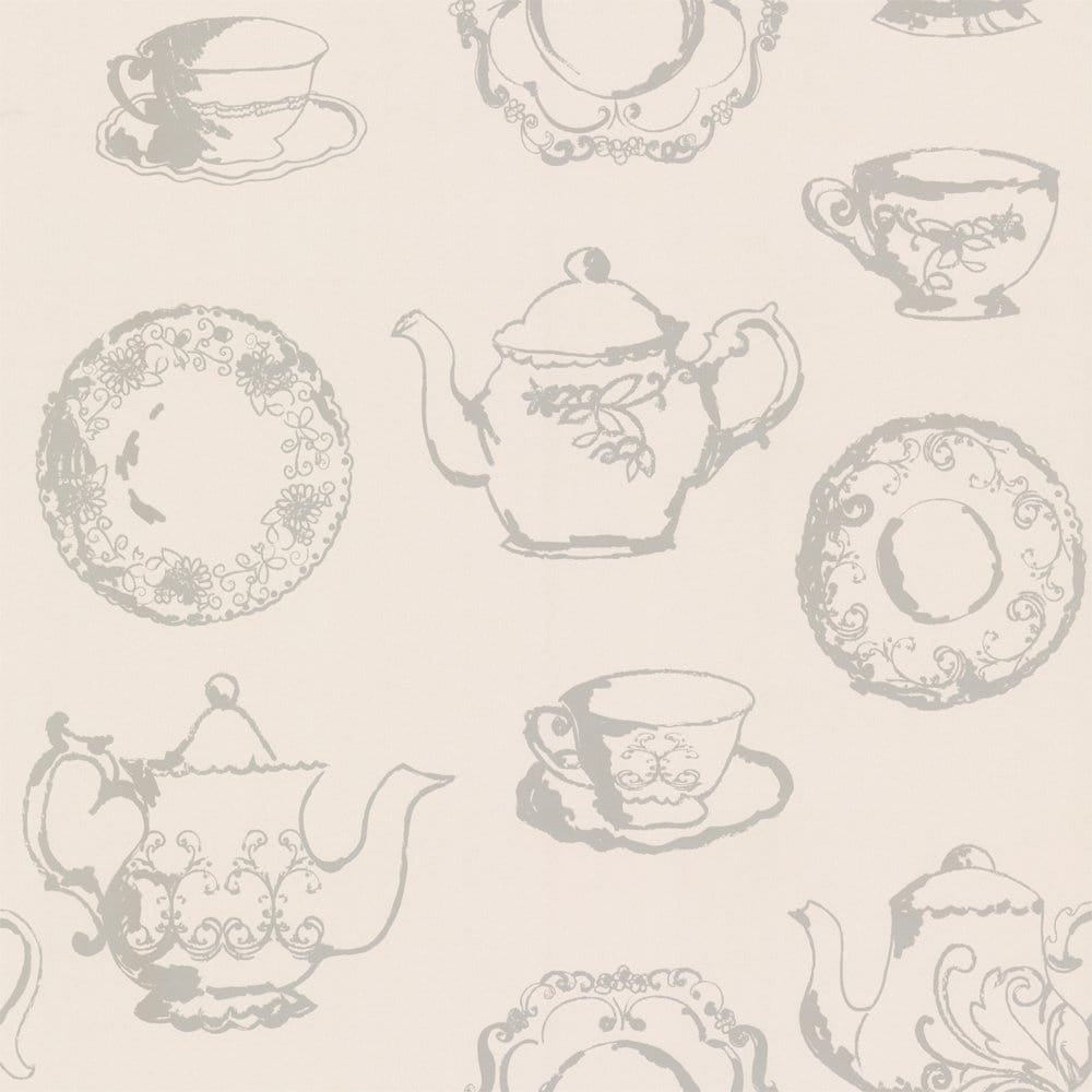 Kitchen Tea Background: Designer Selection Tea Cup Wallpaper Cream / Taupe
