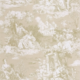 Toile Wallpaper Beige