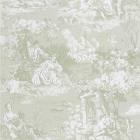Toile Wallpaper Green