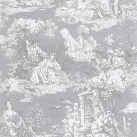 Toile Wallpaper Grey