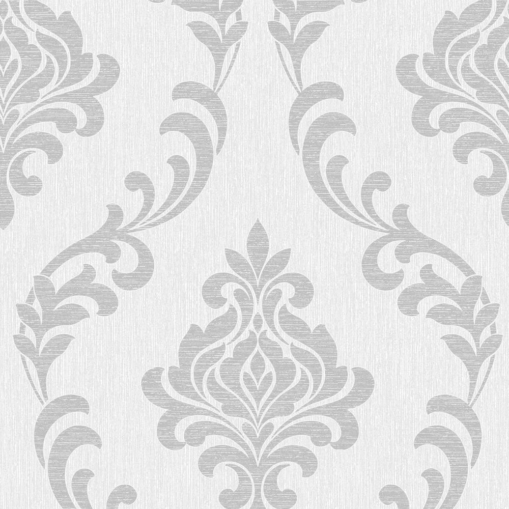 Fine decor torino damask wallpaper white silver fd40191 for Black white damask wallpaper mural