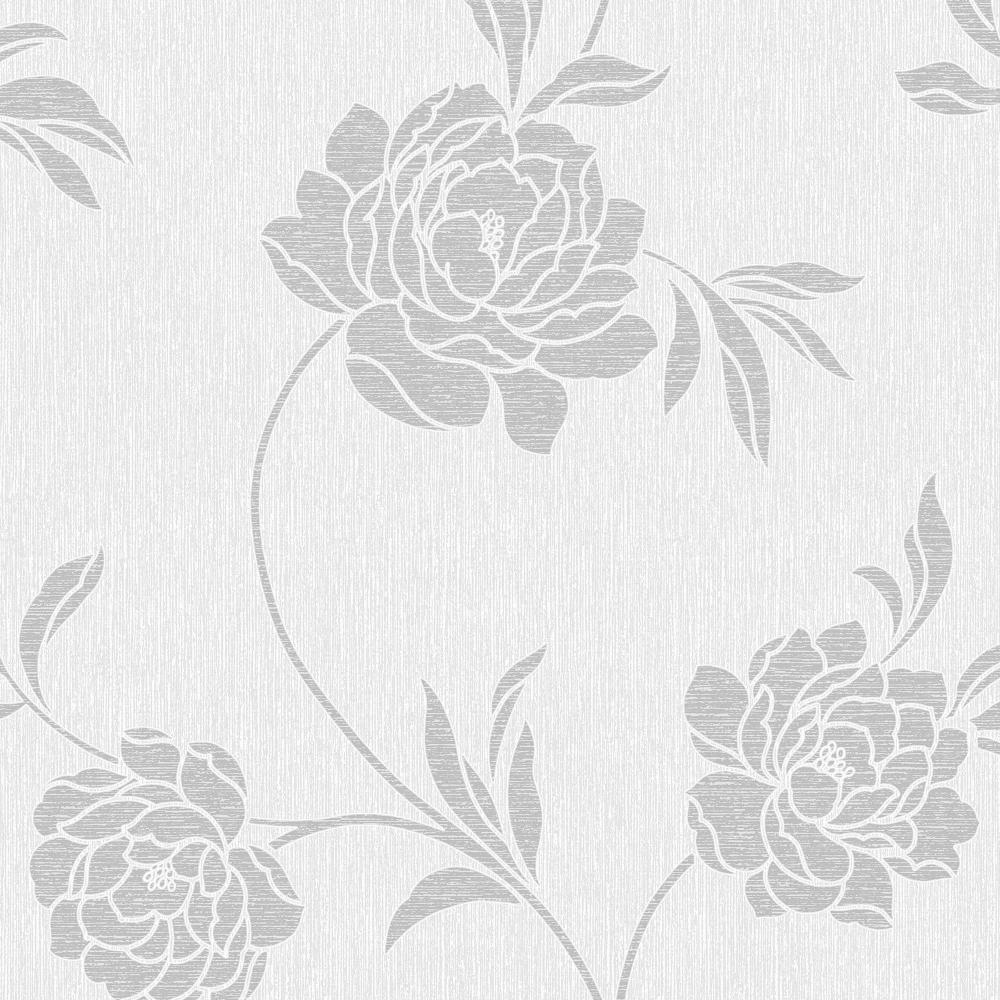 fine decor torino floral wallpaper white silver fd40190. Black Bedroom Furniture Sets. Home Design Ideas