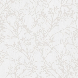 Tranquillity Tree Wallpaper Taupe, Silver (FD41712)