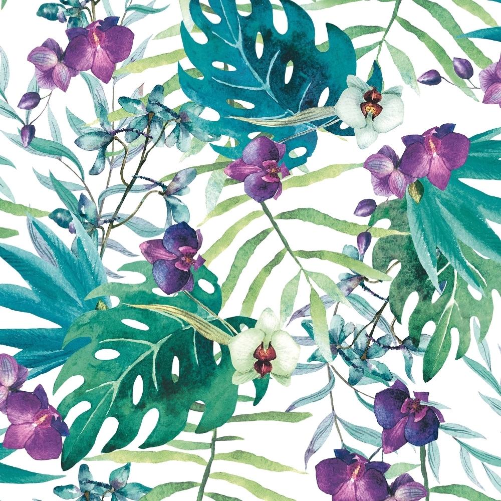 muriva tropical floral wallpaper white multi coloured. Black Bedroom Furniture Sets. Home Design Ideas