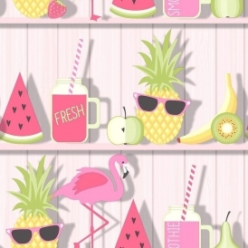 Tropical Shelves Kids Wallpaper Pink