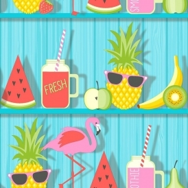 Tropical Shelves Kids Wallpaper Teal