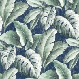 Tropicana Floral Leaf Wallpaper Navy