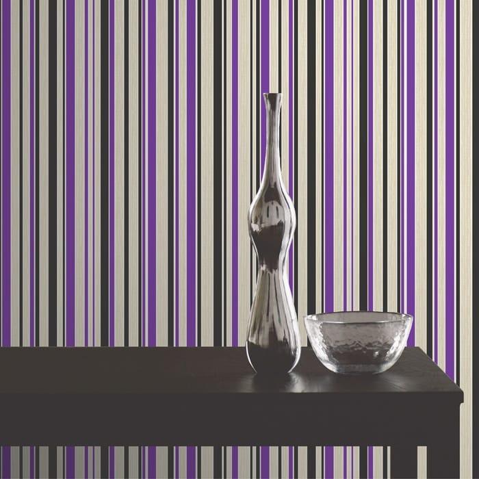 Buy Fine Decor Tulipa Stripe Wallpaper Purple Black White
