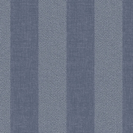 Tweed Stripe Wallpaper Blue