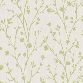 Twiggy Floral Wallpaper Green
