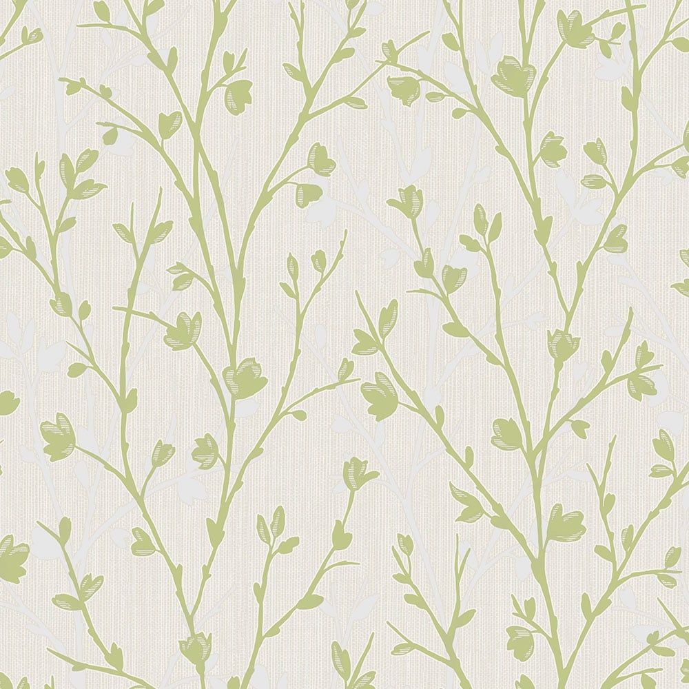 Fine Decor Twiggy Floral Wallpaper Green Wallpaper From