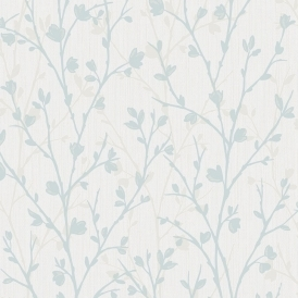 Twiggy Floral Wallpaper Teal