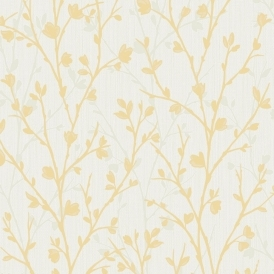 Twiggy Floral Wallpaper Yellow