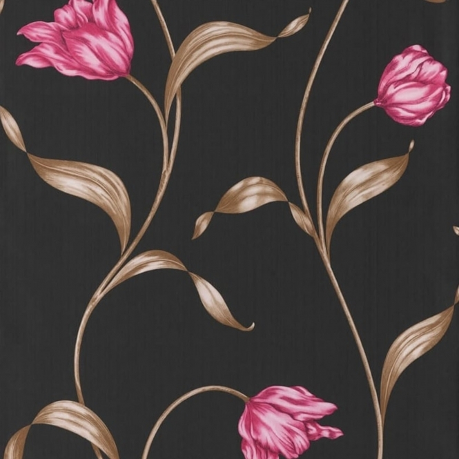 Muriva Twiggy Tulipa Wallpaper Black / Cerise (104505)