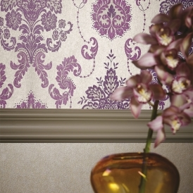 Vasari Damask Wallpaper Aubergine