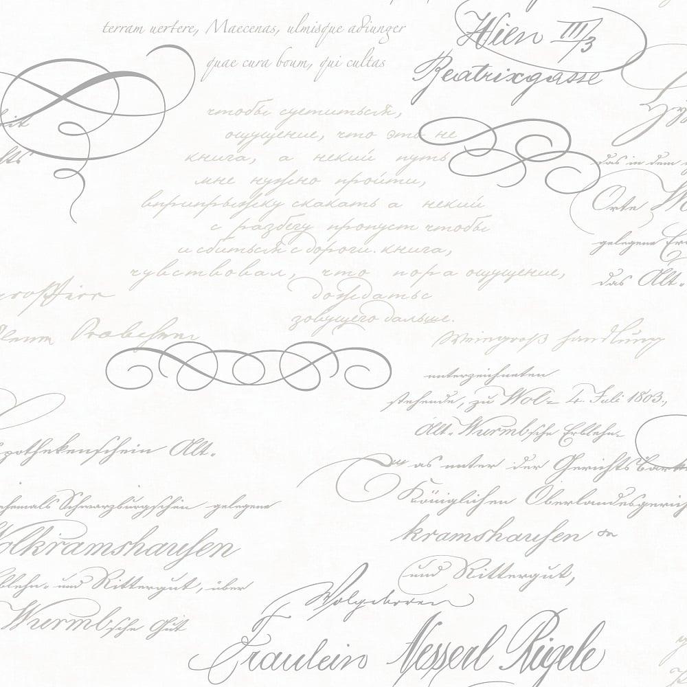 Fine Decor Venitia Script Calligraphy Wallpaper White