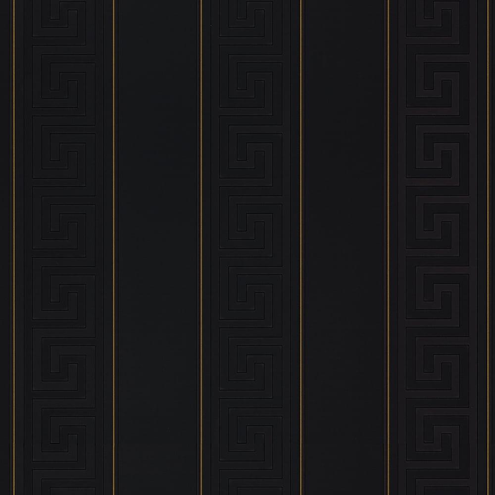 Greek Stripe Wallpaper Black Gold 93524 4