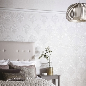 Vintage, Alberti Damask Wallpaper Silver Birch