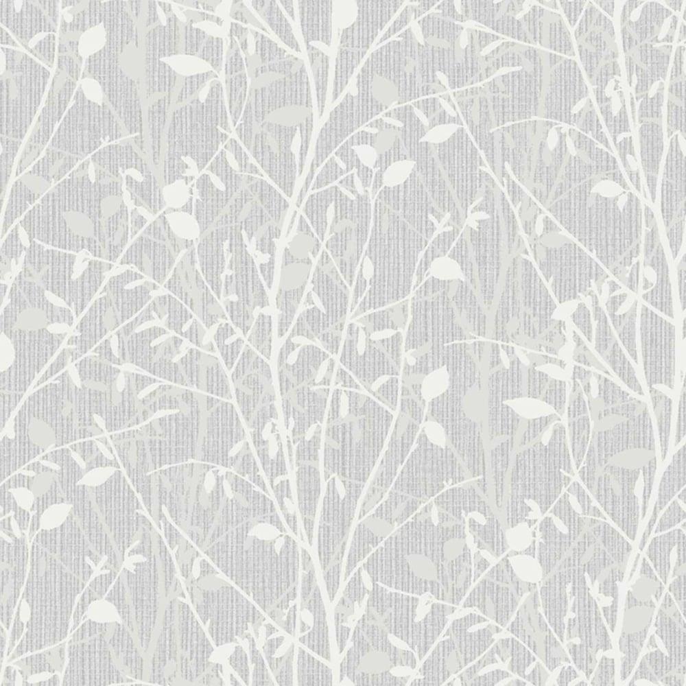 Arthouse Vintage Bosco Leaf Wallpaper Silver 291503
