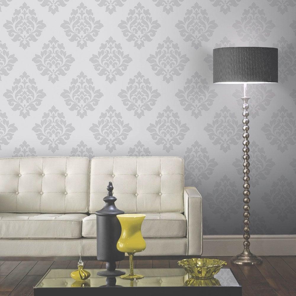 arthouse vintage capulet damask wallpaper silver 891801. Black Bedroom Furniture Sets. Home Design Ideas