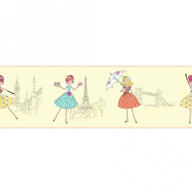 Fine Decor: Hoopla Vintage Fairies Hoopla Wallpaper Border Lemon Cream (DLB07528)
