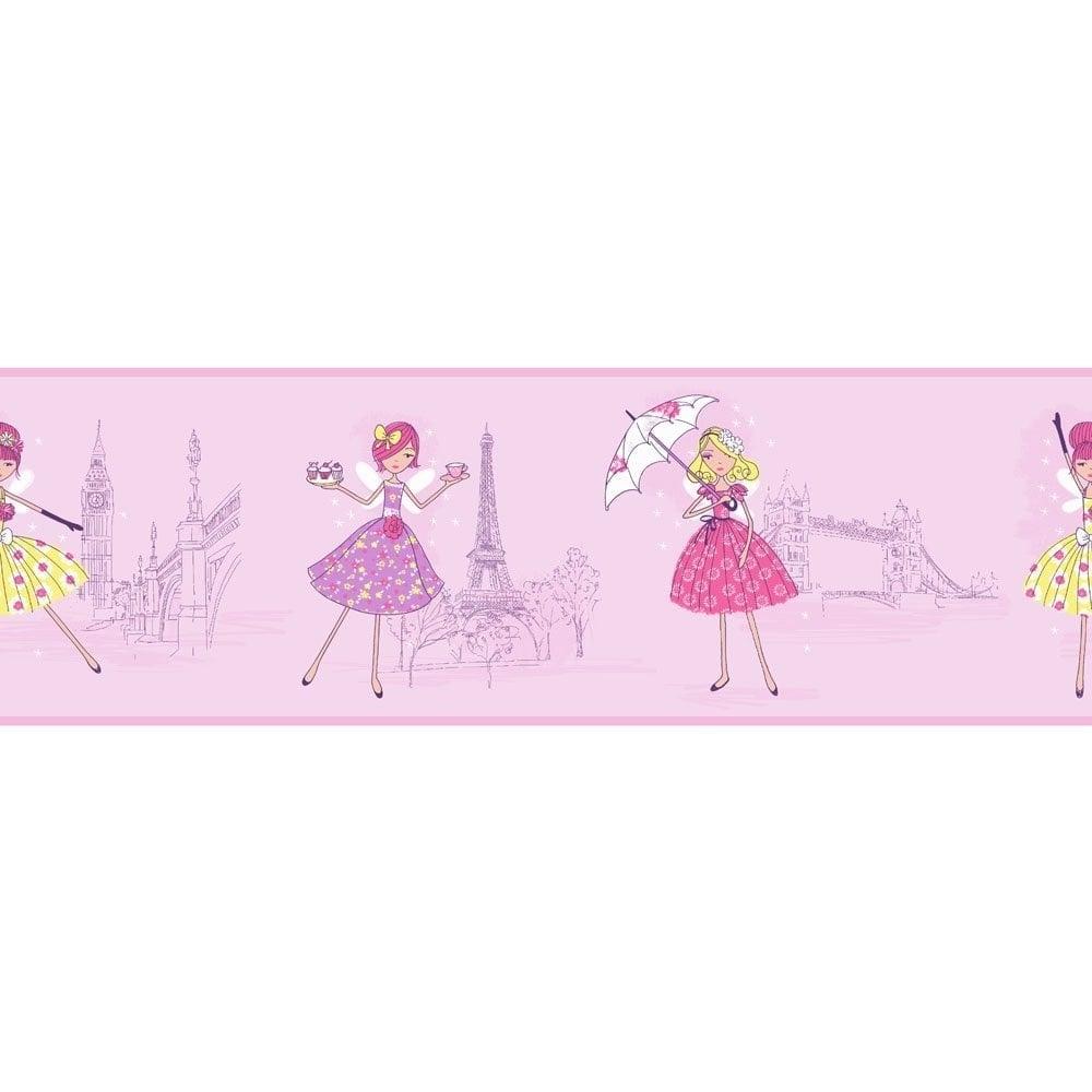 Vintage Fairies Hoopla Wallpaper Border Lilac Dlb07529