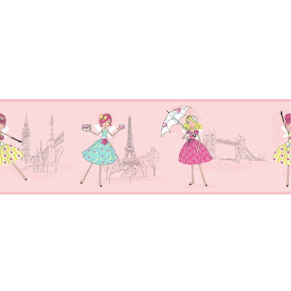 Buy Fine Decor Vintage Fairies Hoopla Wallpaper Border Pink