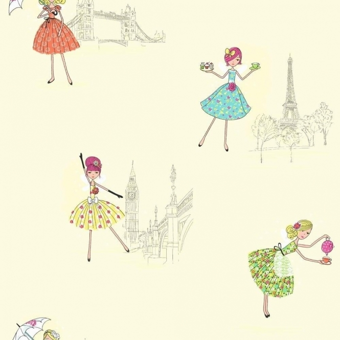 Fine Decor: Hoopla Vintage Fairies Hoopla Wallpaper Lemon / Cream (DL30713)