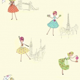 Vintage Fairies Hoopla Wallpaper Lemon Cream