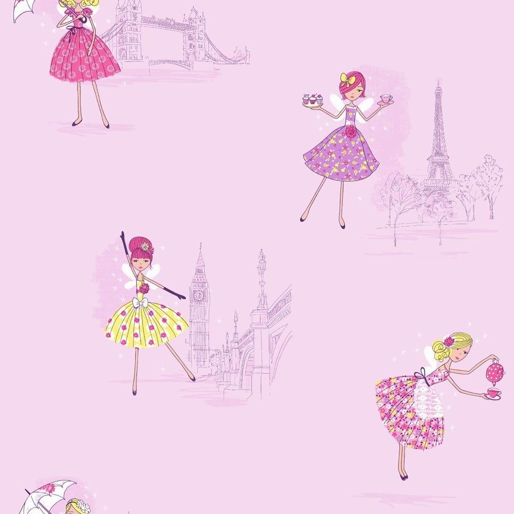 Buy Fine Decor Vintage Fairies Hoopla Wallpaper Lilac
