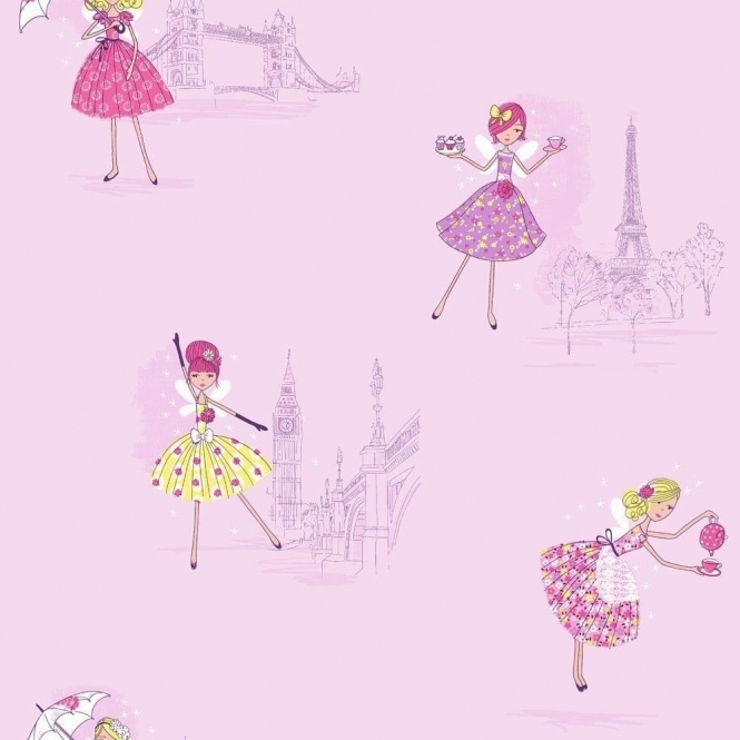 Fine Decor: Hoopla Vintage Fairies Hoopla Wallpaper Lilac (DL30714)