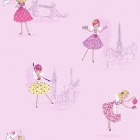 Vintage Fairies Hoopla Wallpaper Lilac