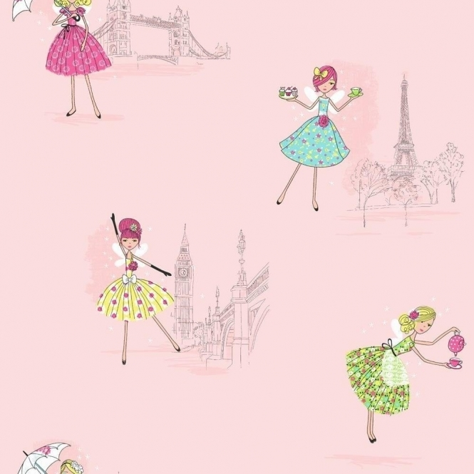 Fine Decor: Hoopla Vintage Fairies Hoopla Wallpaper Pink (DL30712)