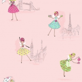 Vintage Fairies Hoopla Wallpaper Pink
