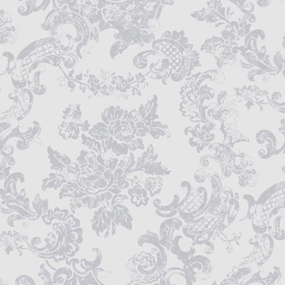 Coloroll vintage lace wallpaper dove grey m0755 for Grey patterned wallpaper