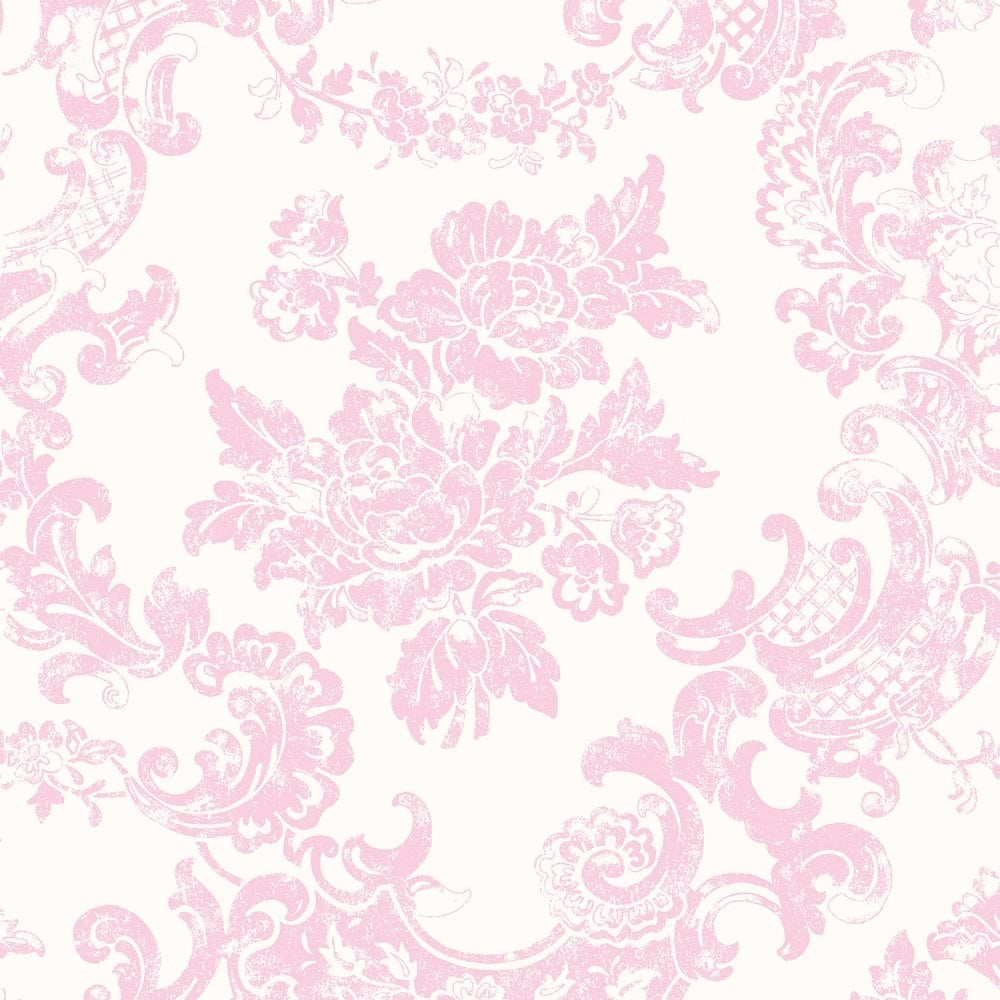 Crown Vintage Lace Wallpaper Marshmallow Pink (M0756 ...