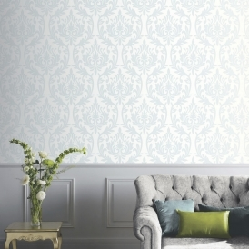 Vintage Lucca Damask Wallpaper Duck Egg