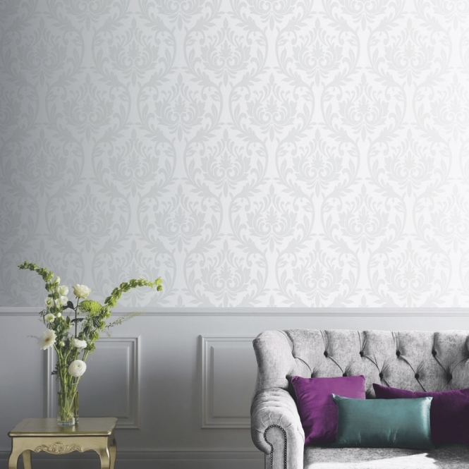 Arthouse Vintage Lucca Damask Wallpaper Silver (891202)