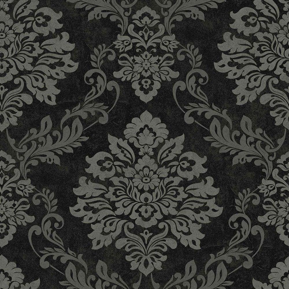 Vintage Palazzo Damask Wallpaper Black Silver 290400