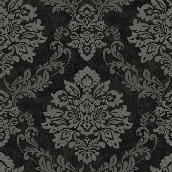 Arthouse Vintage Palazzo Damask Wallpaper Black Silver