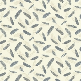 Vintage Plume Feather Wallpaper Blue Cream