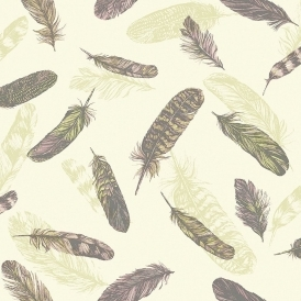 Vintage Plume Feather Wallpaper Pink Green